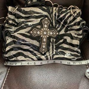 BHW zebra striped, rhinestone cross purse